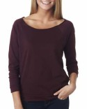 6951 Next Level Ladies' Terry Raw-Edge 3/4-Sleeve Raglan Tee